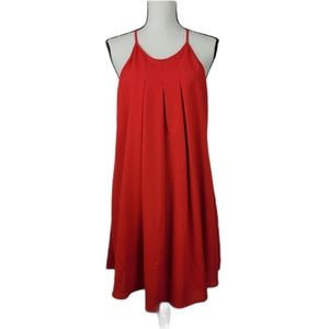 Red spagetti strap summer pleated front dress L